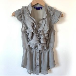 Miley Cyrus Size M Gray Top Ruffle Sleeve Button